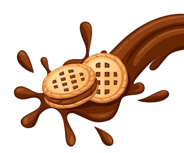 Sandwich koekjes. chocoladekoekjes met choco cream flow. cracker drop in chocolade splash. voedsel en snoep, bakken en koken thema. illustratie geïsoleerd op een witte achtergrond. Premium Vector