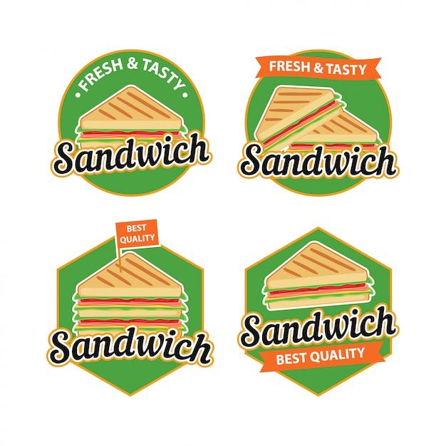 Sandwich logo vector met badgeontwerp Premium Vector
