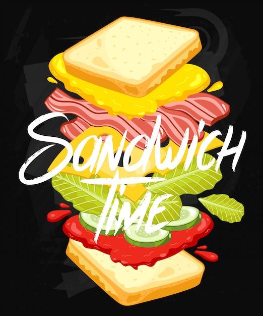 Sandwich op schoolbord Premium Vector
