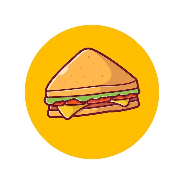 Sandwich pictogram. ham en zwitserse kaas sandwich, voedsel pictogram wit geïsoleerd Premium Vector