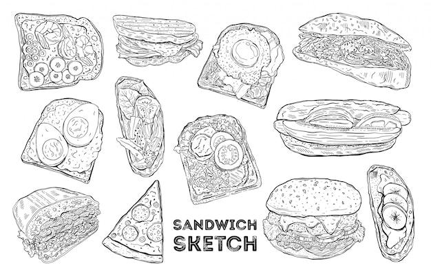Sandwich schets set. hand tekenen van voedsel. Premium Vector