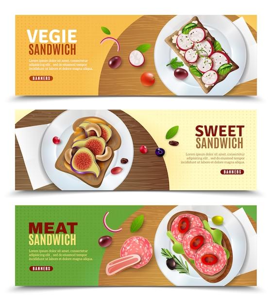 Sandwiches die horizontale banners adverteren Gratis Vector