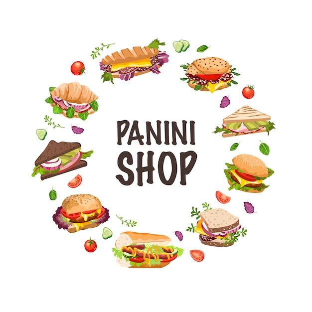 Sandwiches en panini illustratie Premium Vector