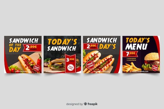 Sandwiches instagram postverzameling met foto Gratis Vector