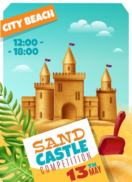 Sandy castle competition realistic poster Gratis Vector