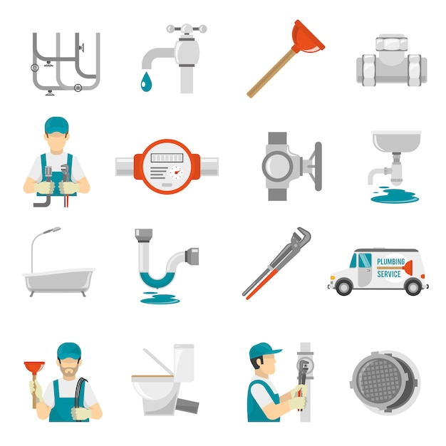 Sanitair icons set Gratis Vector