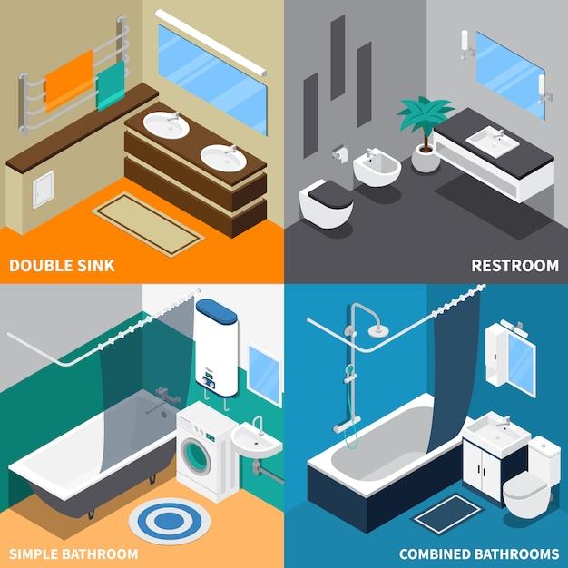 Sanitair isometrisch ontwerpconcept Gratis Vector