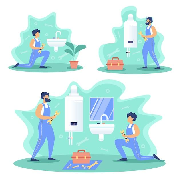 Sanitair service werkt platte concepten set Premium Vector