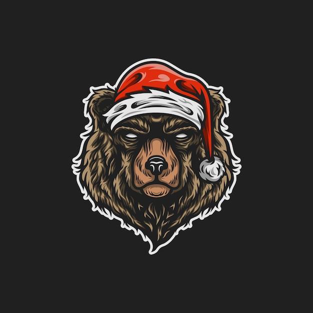 Santa bear mascotte illustratie Premium Vector