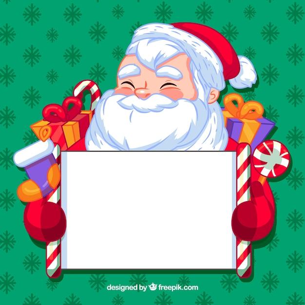 Santa claus achtergrond met poster Gratis Vector