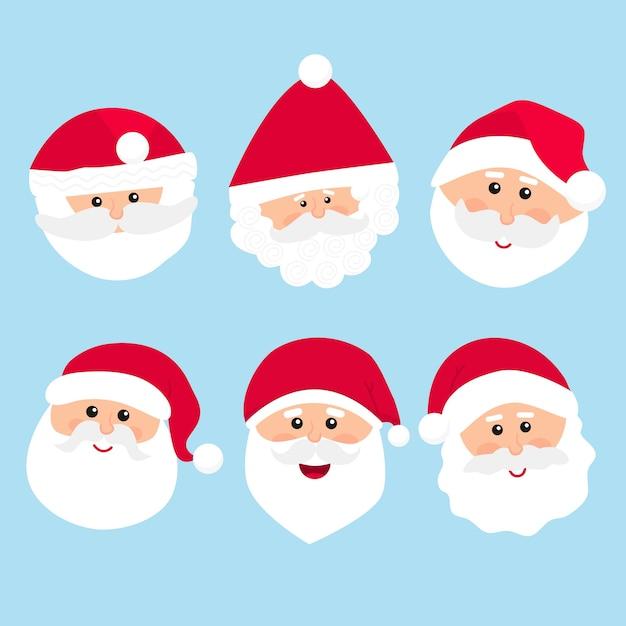 Santa claus character collection in plat ontwerp Gratis Vector