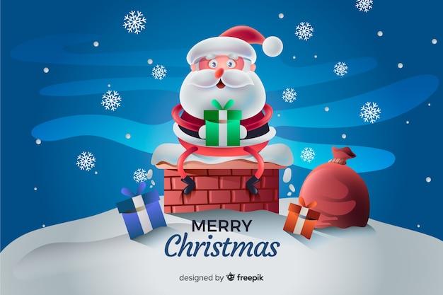 Santa claus christmas achtergrond Gratis Vector