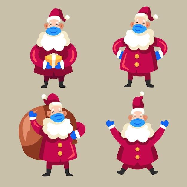 Santa claus-collectie met medisch masker Gratis Vector