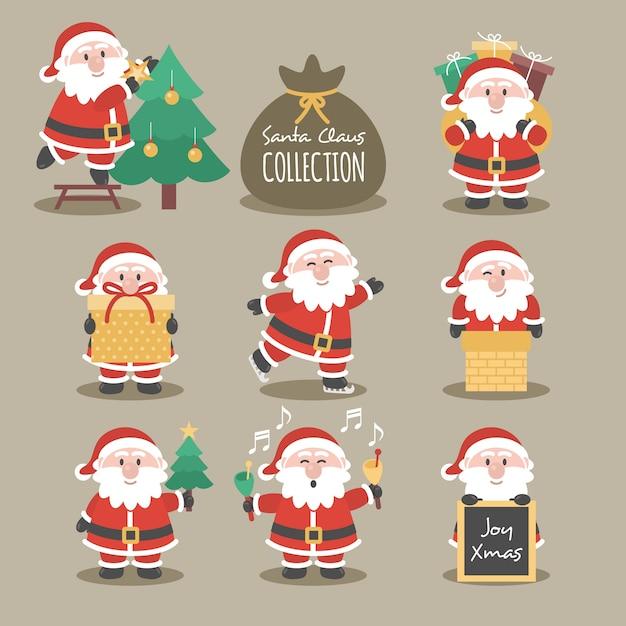 Santa claus-collectie Gratis Vector