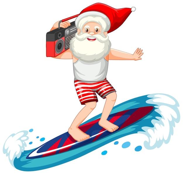 Santa claus die in de zomerthema op witte achtergrond surft Gratis Vector