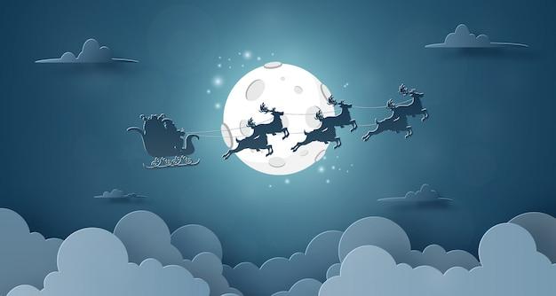 Santa claus en rendieren vliegen in de lucht met volle maan Premium Vector