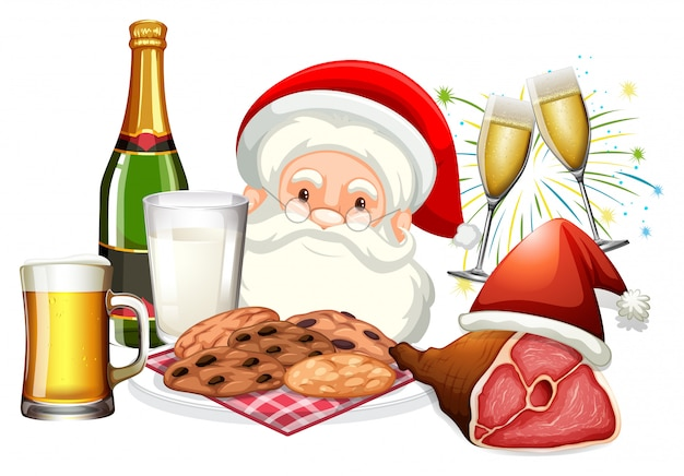 Santa claus en voedsel voor kerstmis Gratis Vector