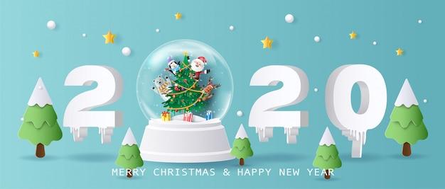 Santa claus en vrienden in christmas globe, merry christmas en happy new year 2020. Premium Vector