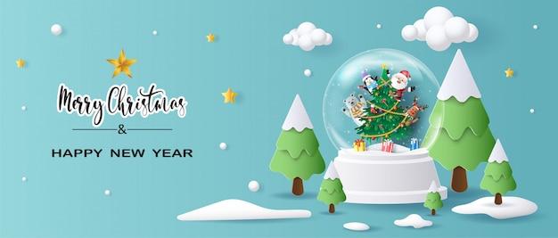 Santa claus en vrienden in kerstmisbol Premium Vector