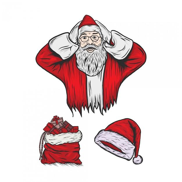 Santa claus gravure vintage illustratie Premium Vector