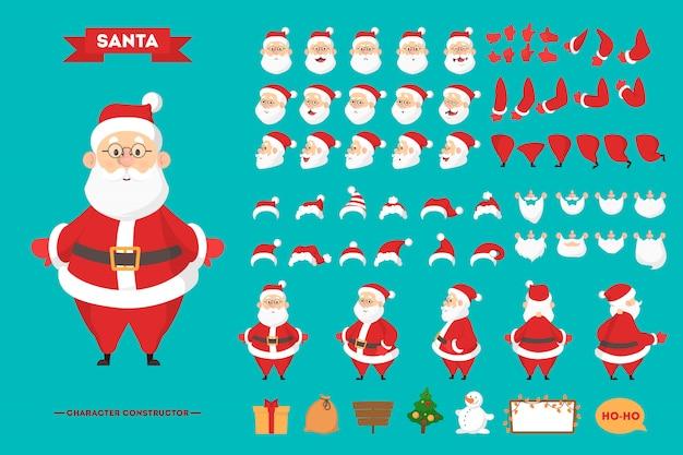 Santa claus in rode kleding tekenset voor de animatie met verschillende standpunten, kapsel, emotie, pose en gebaar. gelukkig oude man met witte baard. illustratie in cartoon-stijl Premium Vector