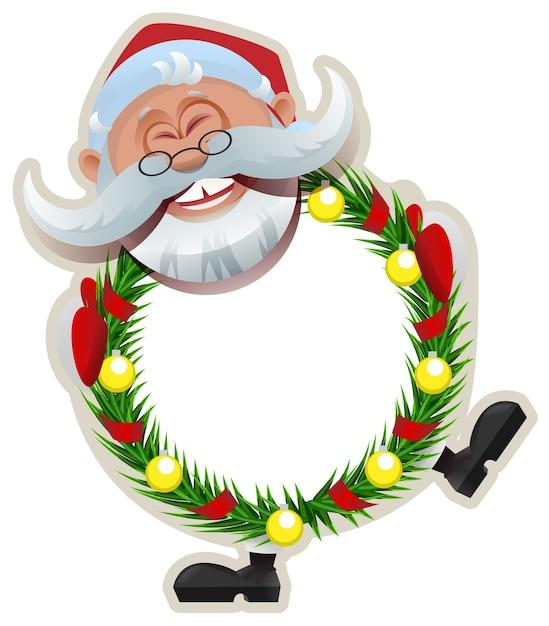 Santa claus kerstkrans van fir takken. Premium Vector