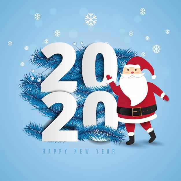 Santa claus met een enorme zak op de wandeling naar de giften van leveringskerstmis bij sneeuwval.2020 en de gelukkige van letters voorziende illustratie van de jaartekst. Premium Vector