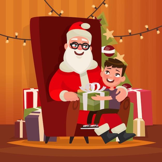 Santa claus met een kind zittend in een stoel. illustratie Premium Vector