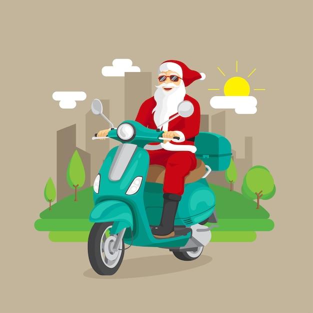 Santa claus-ritautoped met stadsillustratie Premium Vector