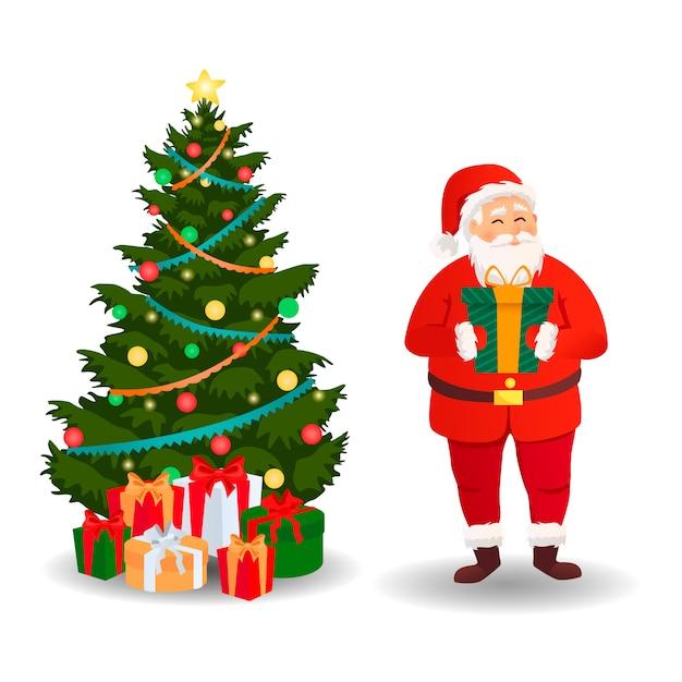 Santa claus set met kerstboom. kerstkaart. Premium Vector