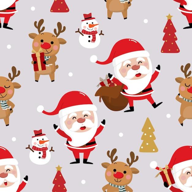 Santa claus, sneeuwpop en herten naadloos patroon Premium Vector