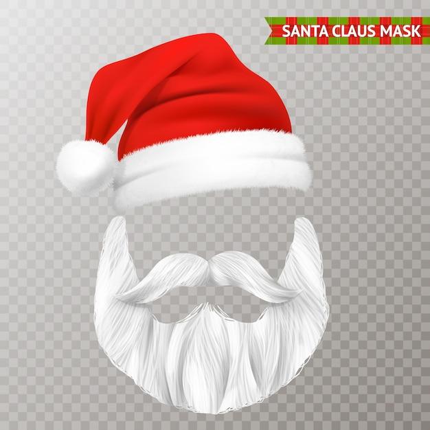 Santa claus transparant kerstmasker Gratis Vector