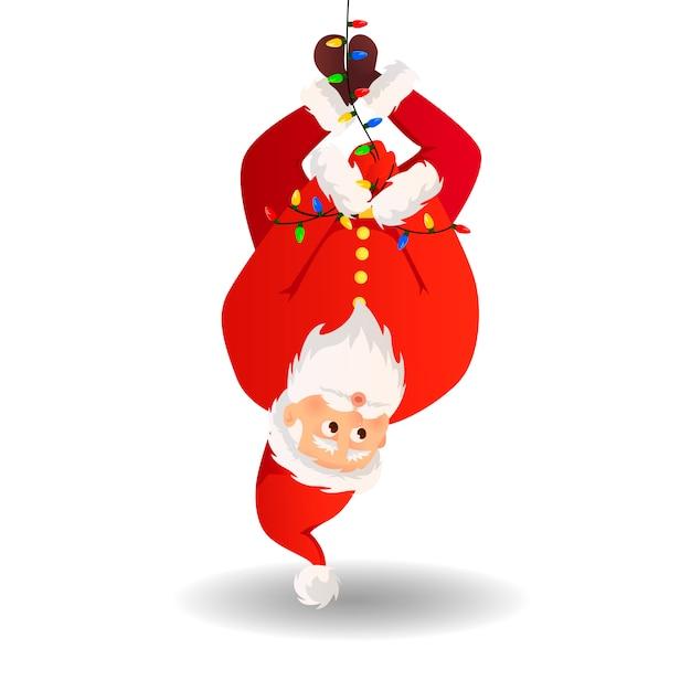 Santa claus voor kerstmis en nieuwjaar posters, cadeaukaartjes en stickers. Premium Vector