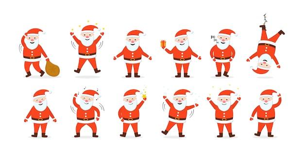 Santa clauses set is klaar voor het nieuwe jaar en kerstmis. verzameling van grappige stripfiguren met verschillende emoties en nieuwjaarsartikelen. vakantie bewegende stripfiguren. Premium Vector
