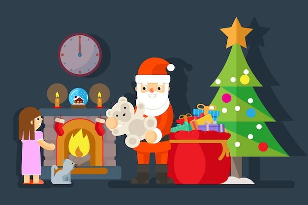 Santa geeft cadeau aan meisje in de buurt van open haard. teddybeer en boomkerstmis, aanwezig voor kind, vectorillustratie Gratis Vector