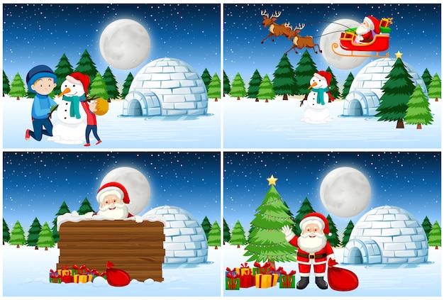 Santa geven presenteert set Gratis Vector