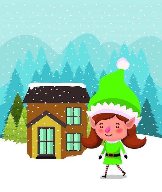 Santa helper elf met huis in snowscape Gratis Vector