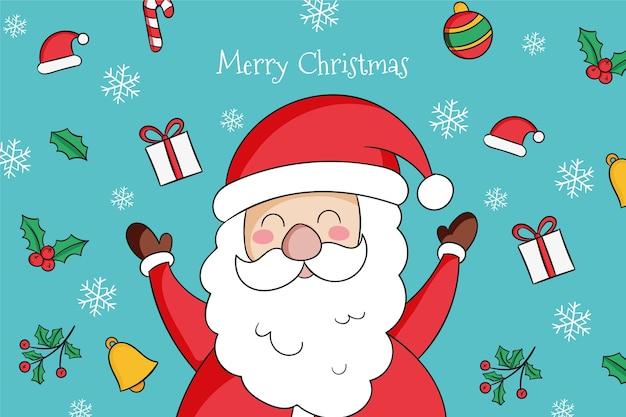 Santa met schattige elementen om hem heen getekend Premium Vector
