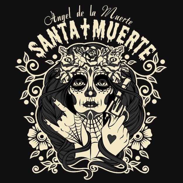 Santa muerte-teken halloween Premium Vector