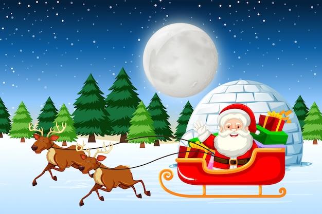 Santa rijdt slee 's nachts Gratis Vector