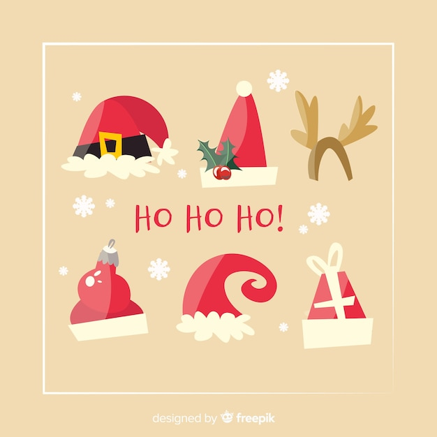 Santa's hoedencollectie in plat ontwerp Gratis Vector