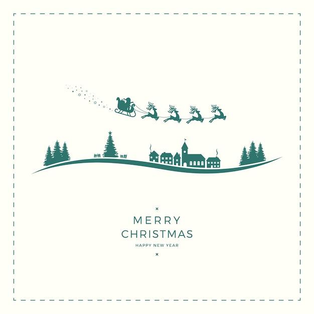 Santa slee merry christmas vintage kaart Premium Vector