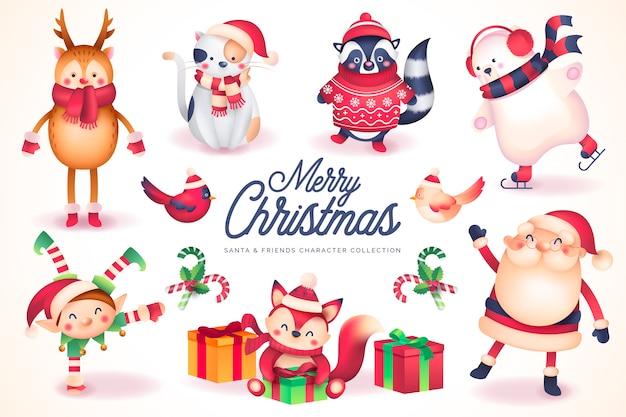 Santa & vrienden character collection Gratis Vector