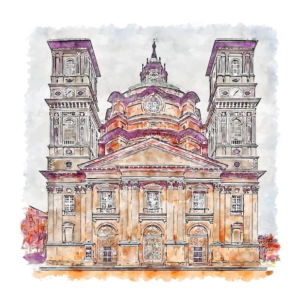 Santuario di vicoforte italië aquarel schets hand getrokken illustratie Premium Vector