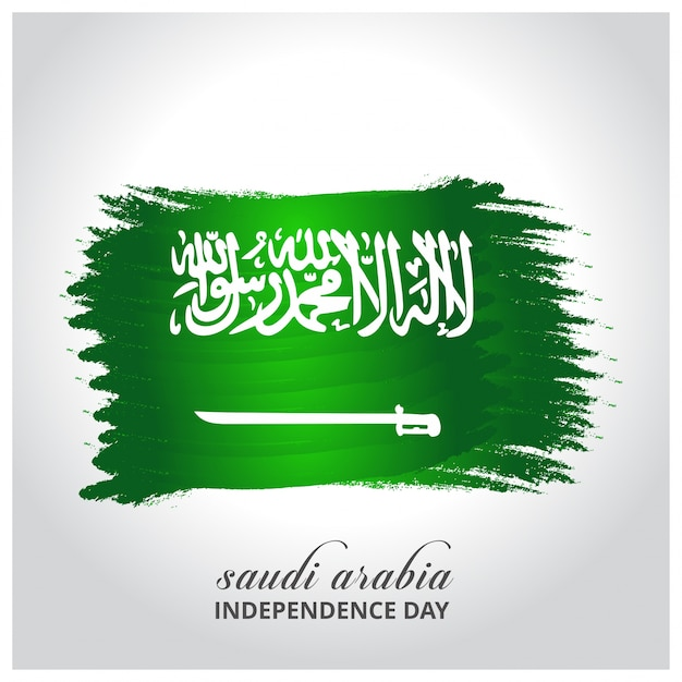 Saoedi-arabië independence day abstract gloeiende vlag Gratis Vector