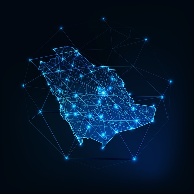 Saoedi-arabië kaartoverzicht met sterren en lijnen abstract kader. Premium Vector