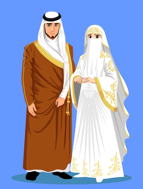 Saoedi-arabische bruiden met bruine en witte kleding. Premium Vector