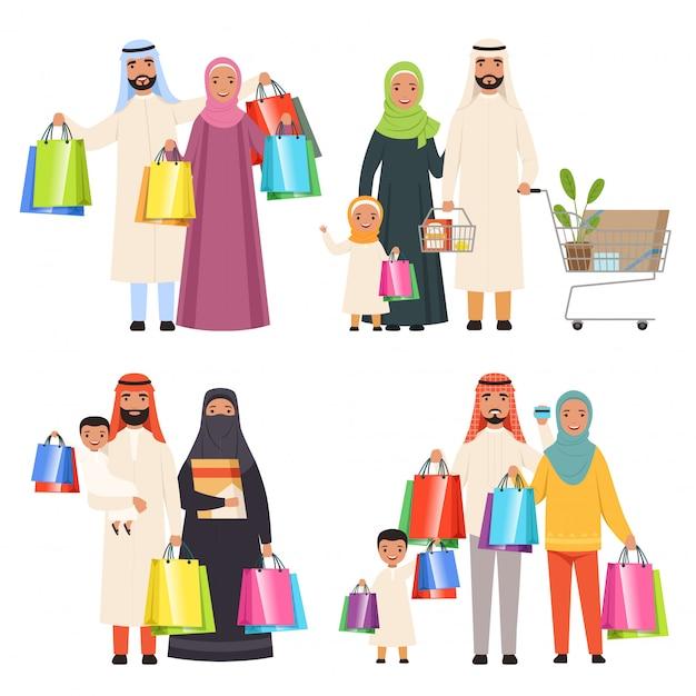 Saoedische familie, markt arabische mannelijke en vrouwelijke karakters die holdingszakken in handenkarakters shiopping Premium Vector