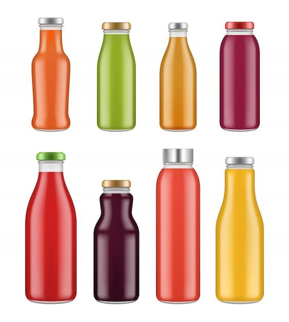 Sapflessen. transparante pot en verpakkingen voor gekleurd vloeibaar eten en drinken Premium Vector