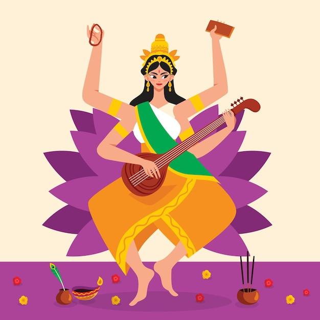 Saraswati-godin hand getrokken Gratis Vector
